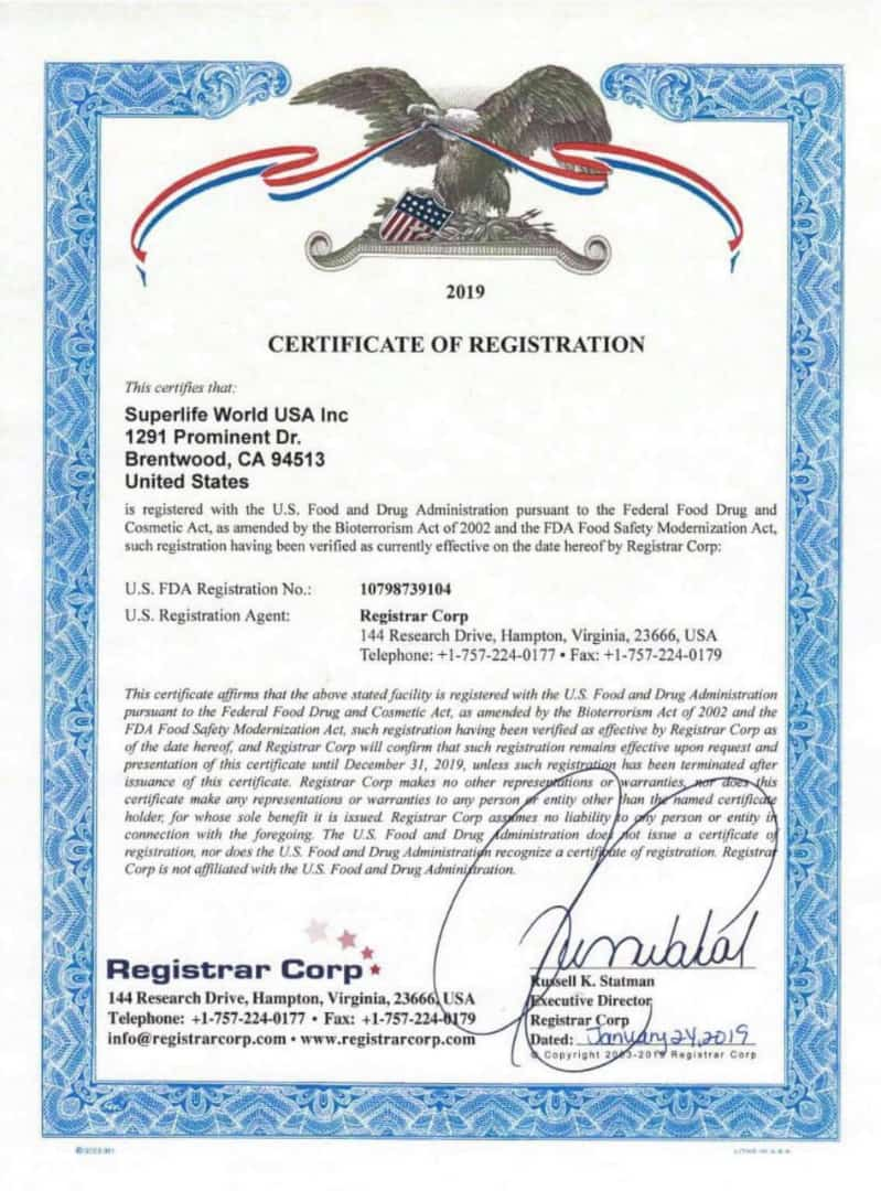Superlife Total Care Products Registration Certificate